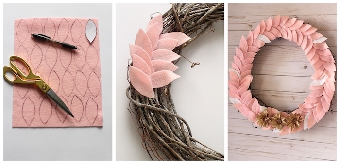 couronne de noel en branches de bois avec décoration de feutrine rose saumon et des fleurs artificielles marron