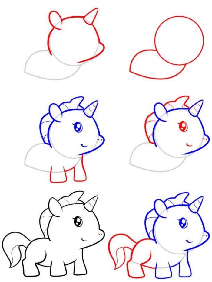 comment dessiner une licorne kawaii bébé en partant des formes simples, cours de dessin pour les plus petits