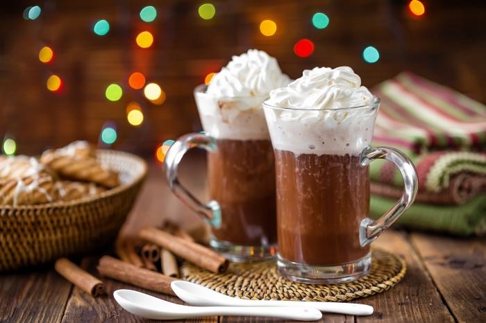 exemple de chocolat viennois au lait et crème fraîche, idée comment préparer une boisson chaude facile au lait et cacao