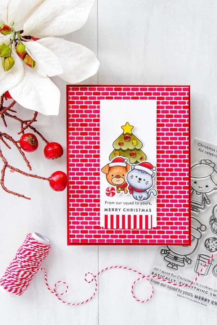 bricolage noel maternelle, fabrication carte de noel en papier coloré avec figurine découpée de papier, art du papier pour noel
