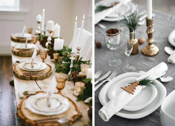 d co de noel avec tron ons de bois brins de pin bougies et serviettes blanches rang es sur une table en bois brut activit  manuelle noel