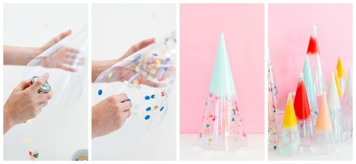 d co diy sapin de noel cone en plastique transparente confettis peinture  la rosole sapins de c nes enroul s peints et d cor s