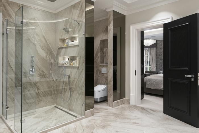 salle de bain en gris collée à la chambre à coucher, petite cabine de douche, salle de bain avec douche à l'italienne photos