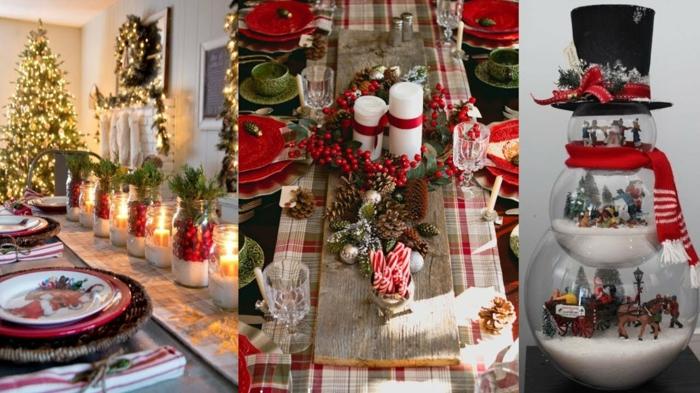 d corations festives pour les tables de Noel bonbonni re bohnomme de neige rempli de neige artificiel et de sc nes du bible tron ons de bois