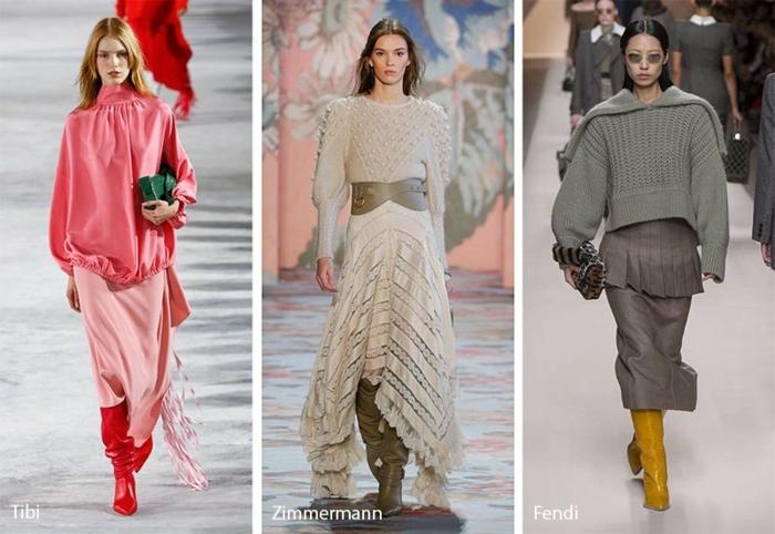 vêtements tendance, tunique rose ample, jupe rose longue, bottes rouges, robe longue blanche, pull gris surdimensionné