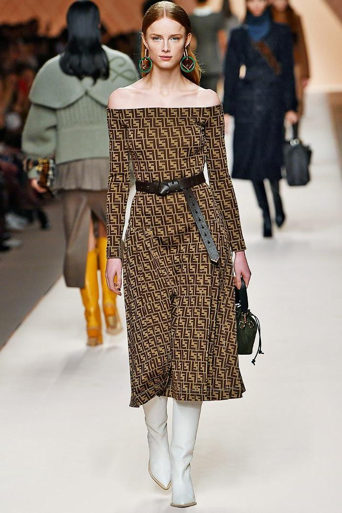 robe longue hiver montrée à un review, bottes longues jaunes, jupe longue fendue, manteau vert manches volumineuses