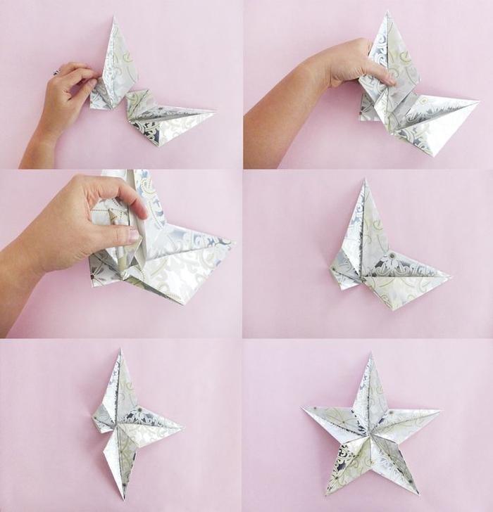 des pliages origami en papier à motifs métallisés pour réaliser une étoile origami noel