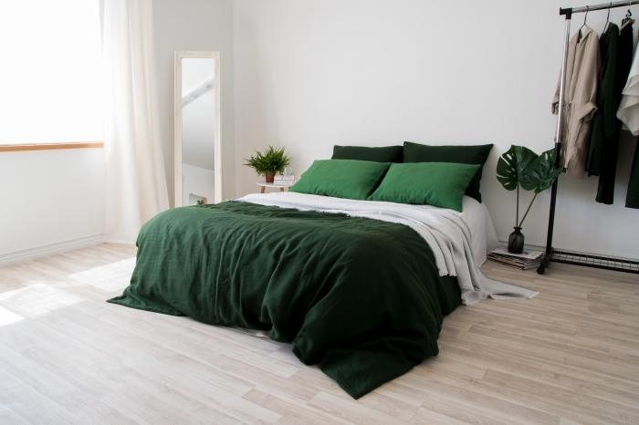 exemple de peinture chambre adulte moderne, aménagement chambre à coucher aux murs blancs et parquet en bois clair
