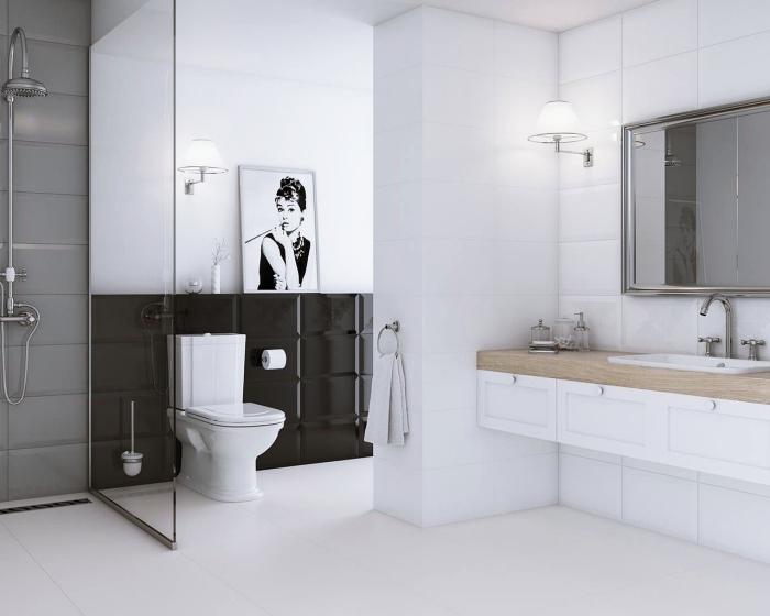 exemple carrelage mural salle de bain, quelles couleurs associer dans une salle de bain contemporaine en style minimaliste