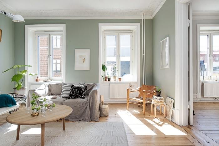 aménagement salon cozy aux murs verts et plafond blanc avec plancher de bois, peinture vert d'eau ou vert gris pour salon
