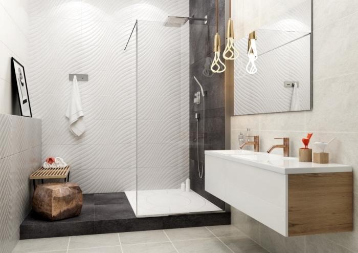 design contemporain et sophistiqué dans une petite salle de bain, idée amenagement petite salle de bain 4m2 en style industriel moderne