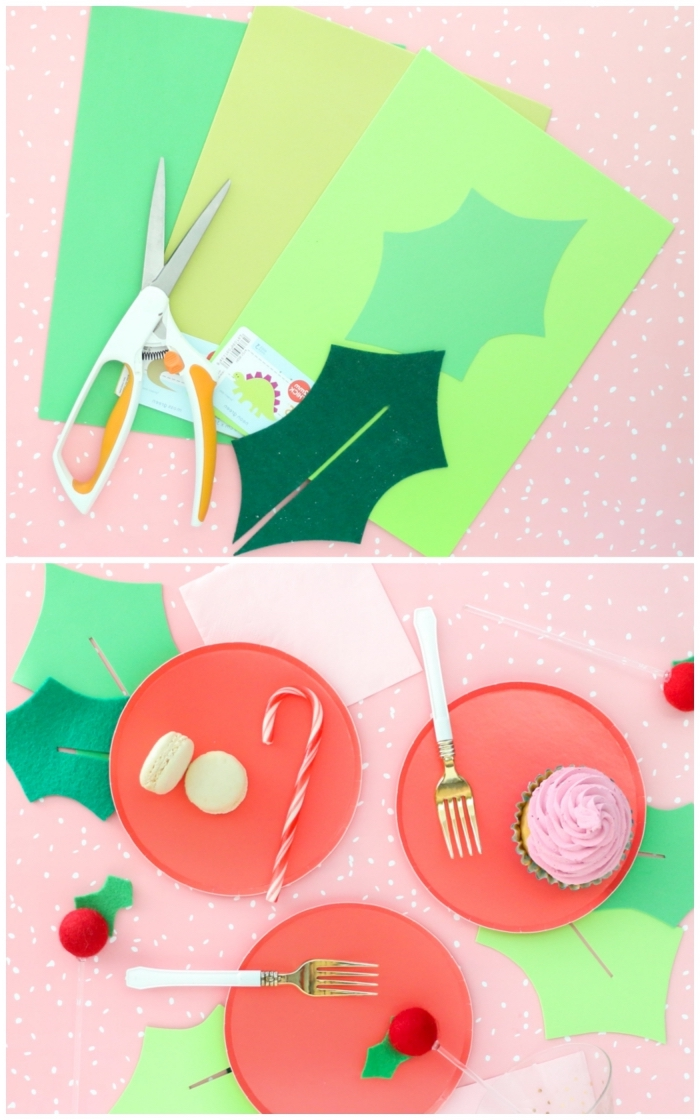 idée originale pour réaliser une déco de table festive, décorer les assiettes avec des feuilles de houx découpées en papier et feutre
