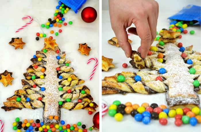 exemple comment préparer un gâteau de noel pour les enfants, arbre de noel en pâte avec jolie déco avec bonbons