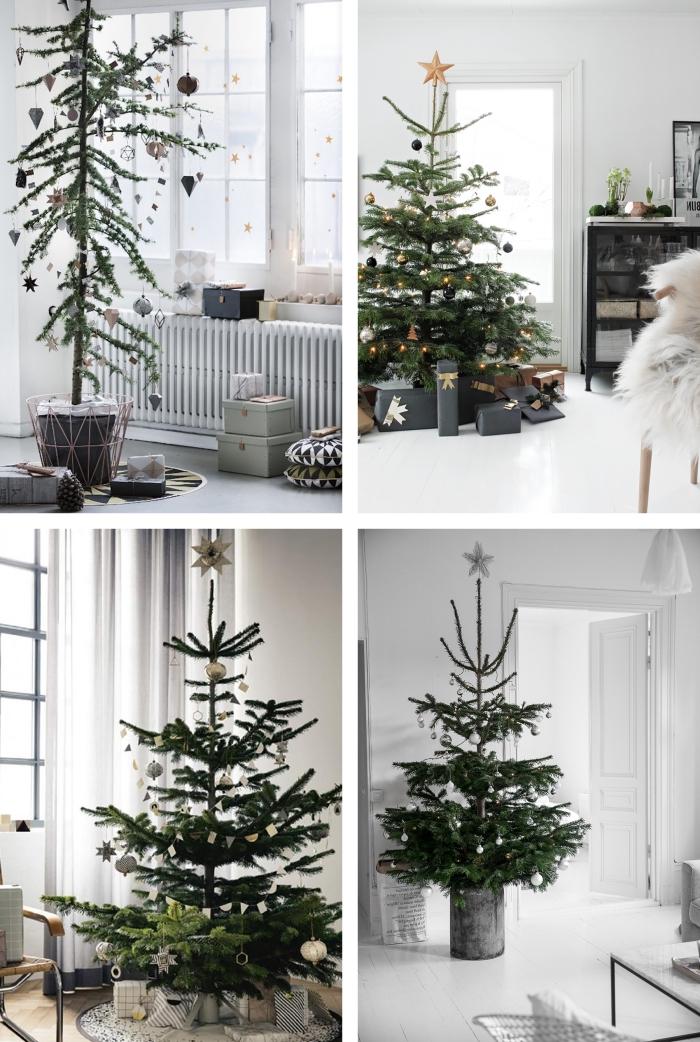 deco sapin de noel de style dépouillé scandinave, arbres de noël naturels posés dans des pots dans un intérieur de style scandinave