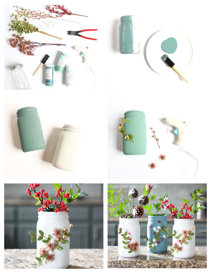 idee deco noel a faire soi meme en pots de verre recyclés décorés de peinture ardoise et décorations branches artificielles houx et pomme