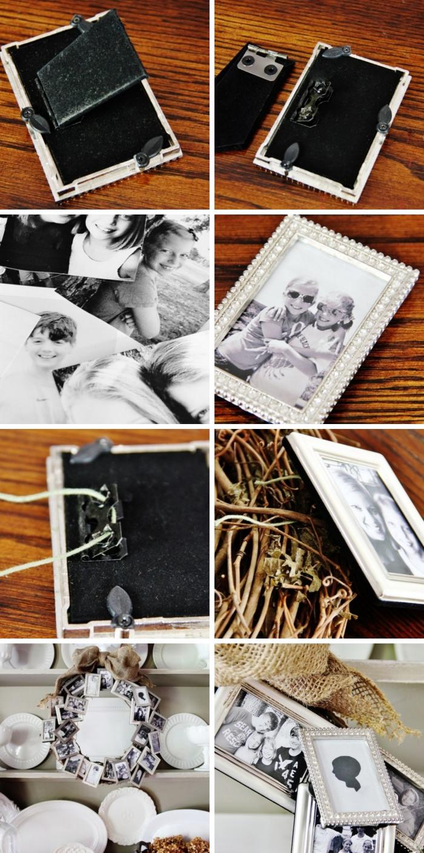 objet de déco de Noel DIY, que faire avec nos photos de famille, modèle de couronne Noel personnalisée avec photos, cadeau insolite femme