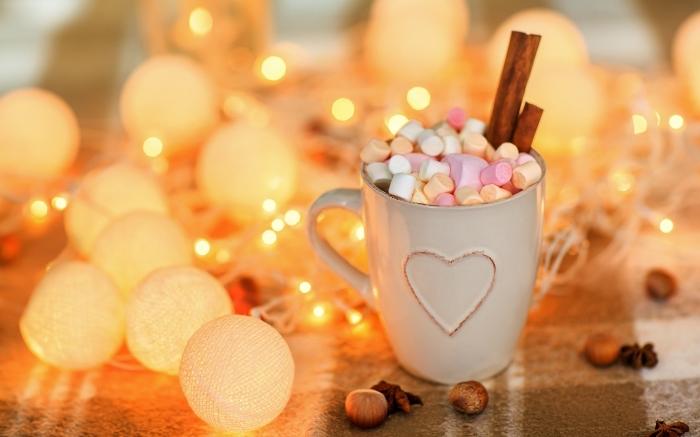 boisson chaude au lait pour noel, recette boisson au chocolat facile, chocolat chaud a l ancienne garni de guimauves