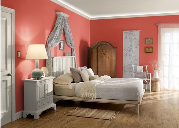 peinture chambre fille, coloris nuance rouge pour une déco chambre femme, tendance peinture murale 2019