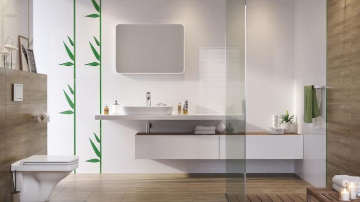 idee salle de bain avec douche moderne en blanc et bois, exemple quelles couleurs associer dans une salle de bain zen