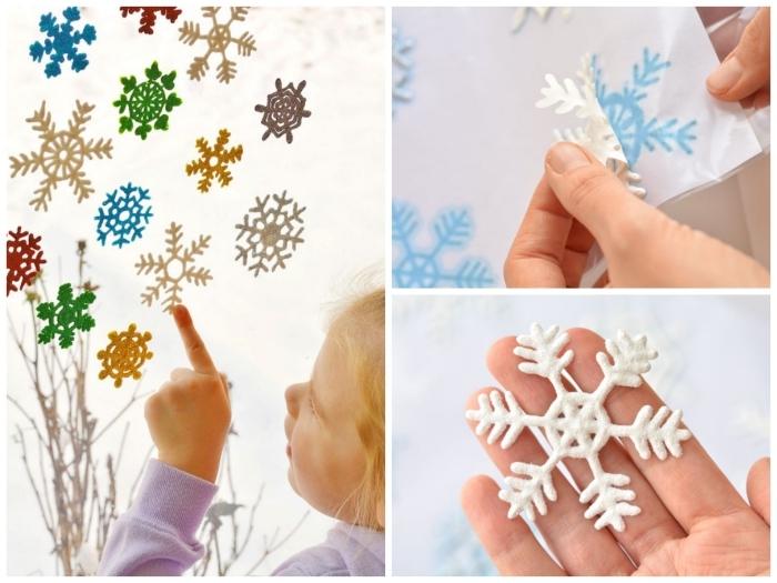activité manuelle noel à faire avec les enfants, comment faire des flocons de neige pailletés autocollants en pour décorer les vitres