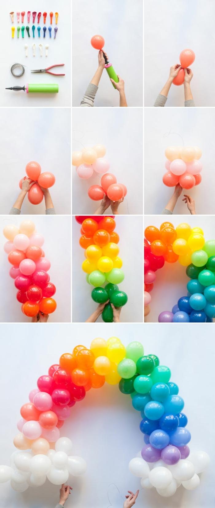 arche de ballons colorés, groupes de ballons multicolores, rassemblés en une arche de ballons groupés par couleurs