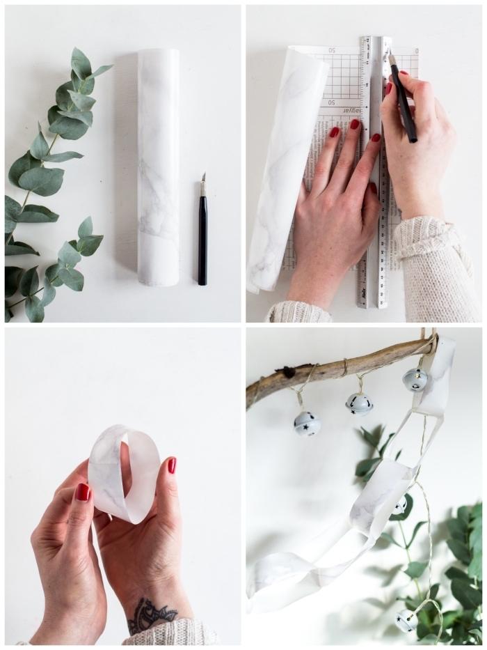 deco de noel a faire soi meme, guirlande d'anneaux de papier autocollant imitation arbre
