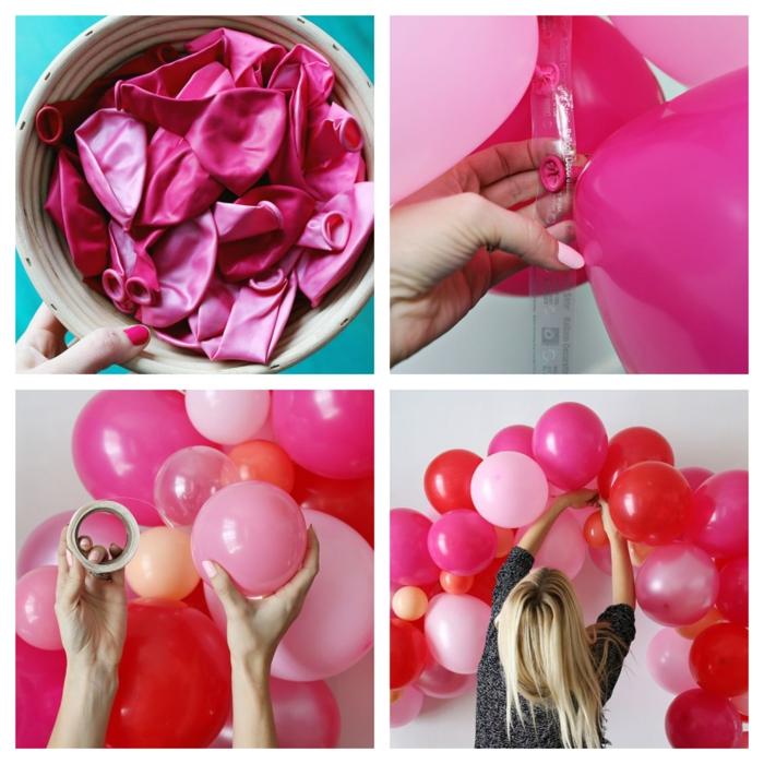 ballons roses gonflés à l'hélium attachés à une bande adhésive, arche murale de ballons en latex