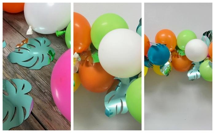 guirlande de ballons tropicale avec grandes feuilles de papier turquoise et ballons flottants, deco anniversaire enfant