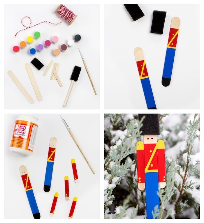 soldat en batonnets de glace assemblés et colorés à la peinture bricolage, idee d ornement diy sapin de noel, décoration noel maternelle