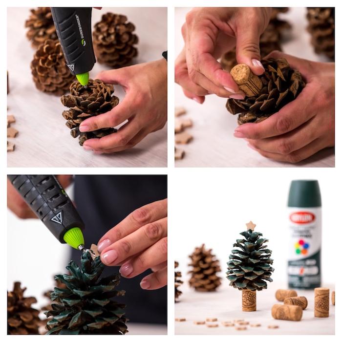 que faire avec des pommes de pin, sapin de noel pomme de pin décoré de peinture verte et étoile bois en top, tronc en bouchon de liège