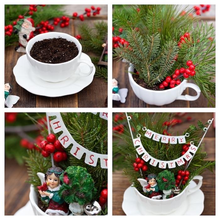 petit terrarium dans une tasse à thé avec sous-coupe, branches de pin et houx plantés dans un terreau, activités manuelles noel