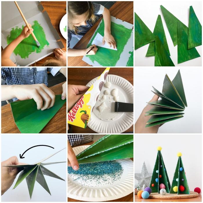 mini-sapin de noel en carton recyclé réalisé à partir d'une boîte à chaussure, peinte en vent, sapin de noël décoratif sur une base de liège décoré de petits pompons en laine
