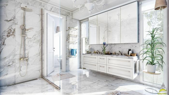 salle de bain blanche marbrée, meuble sous vasque blanc, douche élégante, pot de fleur avec plante verte