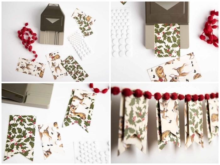 tuto pas à pas avec le matériel nécessaire pour réaliser une banderole de noel en papier imprimé vintage bordée de pompons, decoration de noël à fabriquer en papier