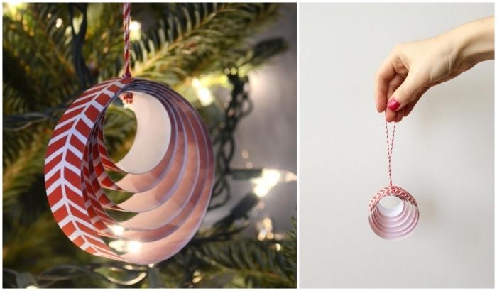 deco de noel maison à réaliser avec un petit budget, joli ornement de noël circulaire réalisé avec des bandes de papier imprimé rouge et blanc