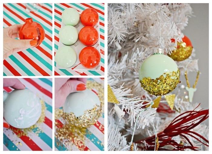 bricolage noel adulte, boules de noel rouges et vert clair avec decoration de paillettes couleur or pour sapin de noel blanc