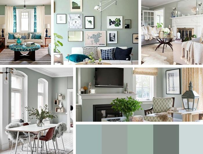 exemple de déco avec peinture vert d'eau, palette de teintes vertes pour déco 2019, aménagement salon avec décoration en mur de cadres