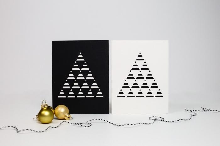 idée comment faire une carte DIY de style scandinave, modèle de carte de voeux a faire soi meme en papier blanc et noir avec sapin graphique