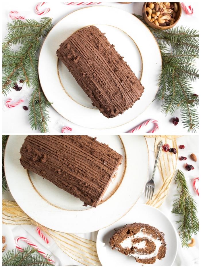 recette dessert noel traditionnel, bûche de noël à la crème pâtissière et au glaçage chocolat strié posé sue un plateau rond blanc à bord doré, entouré de branches de sapin