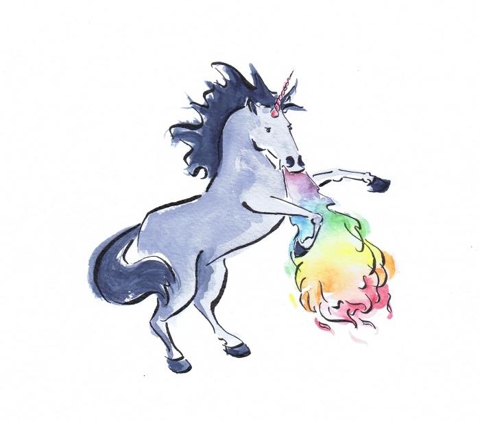 dessin de licorne furieuse dressée sur ses pattes derrières qui crache du feu arc-en-ciel, dessin aquarelle original