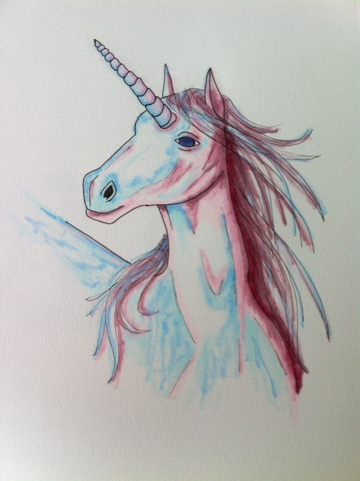 dessiner une licorne majestueuse avec une crinière au vent, à une allure gracieuse, licorne aux ombres bleu et rouge