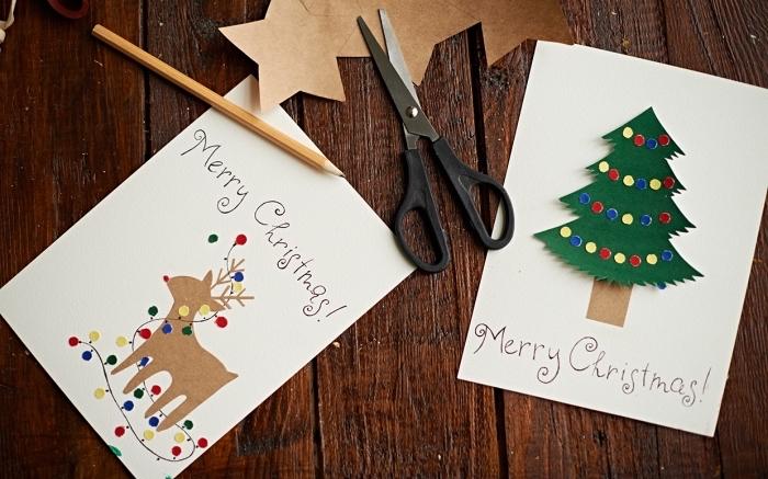 idée carte de voeux noel facile à faire, décoration de carte vierge avec figurines découpées de papier colorés aux motifs noel