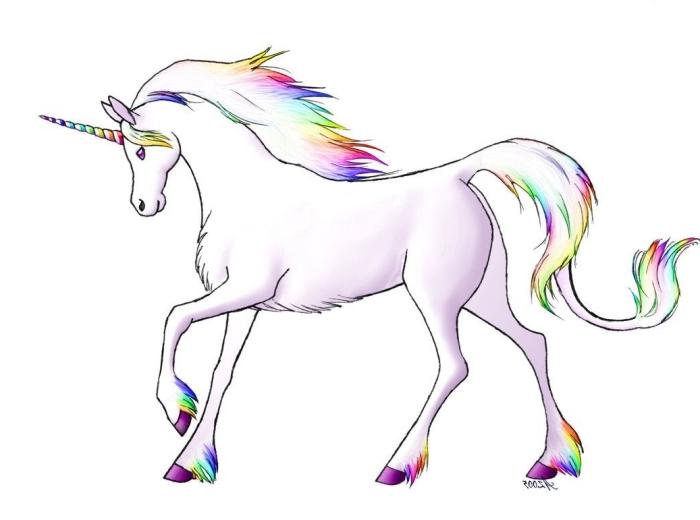 dessin licorne gracieuse avec crinière et des sabots aux couleurs de l'arc-en-ciel faisant une jambette