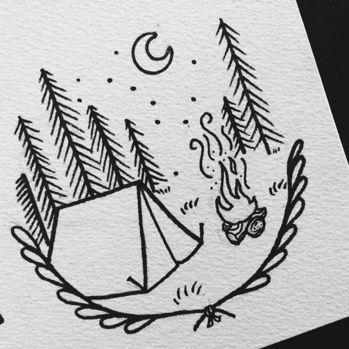 Chouette dessin facile a reproduire, dessin facile a faire pour tatouage nature, tente et feu et arbres, cours de dessin simple
