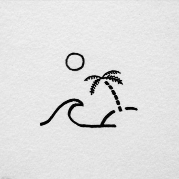 Apprendre à dessiner dessin facile a faire les dessins pour les débutants, simple idée de dessin plage palme ile desert