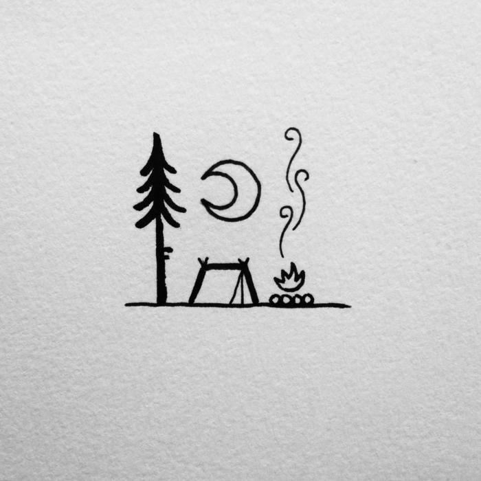 Mignonne idée quoi dessiner pour un dessin tatouage nature, feu la lune et une tente, beaux dessins simples a reproduire