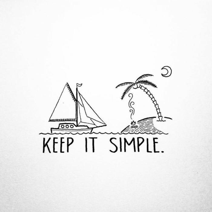 Comment dessiner un simple dessin facile a faire, beau dessin simple a faire avec un ile isolé et un bateau qui vient