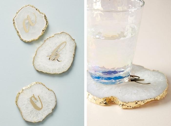 modèle de sous-verres blanc et or, objet de déco stylée, cadeau maman noel, accessoire stylé de cuisine pour mère