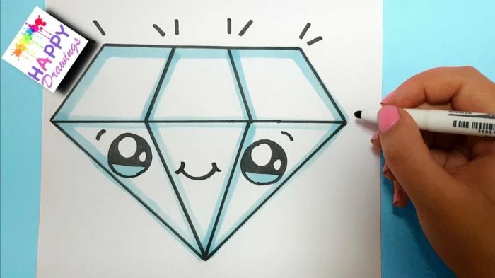Comment dessiner des diamants style kawaii dessins facile à faire, commencer à dessiner diamant mignon
