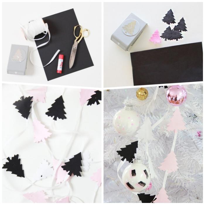 jolie guirlande de noël en mini-sapins en papier rose et noir, deco de noel a faire soi meme